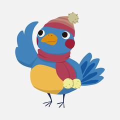 winter animal bird flat icon elements background,eps10