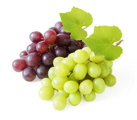 Fresh red and green grapes with leaves