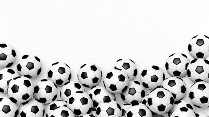 Pile of classic soccer balls isolated on white with copy-space