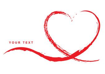 Grußkarte mit handgezeichnetem rotem Herz – Your Text