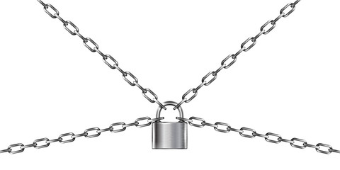Metal chain and padlock, isolated on white Wall mural