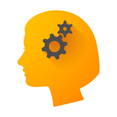 Woman head icon with gears