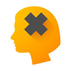 Woman head icon with an irritating sign