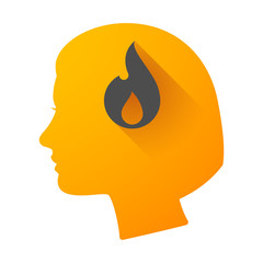 Woman head icon with a flame