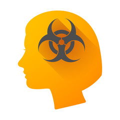 Woman head icon with a biohazard sign