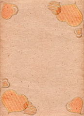 Peach paper with pattern of retro hearts. Love. Valentine's Day