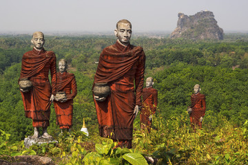 Statues of Buddhist Monks in Mawlamyine, Myanmar