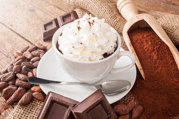 Poster Chocolate Cup of hot chocolate with whipped cream