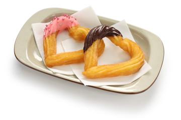 homemade heart shape churro, valentines day dessert
