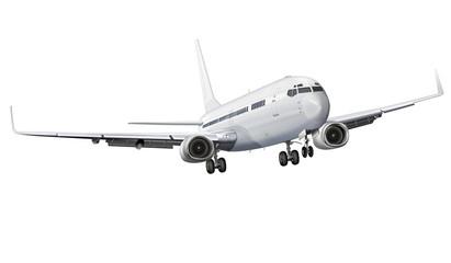 Passagierflugzeug, Flugzeug freigestellt weiß