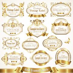 White gold-framed labels set 7