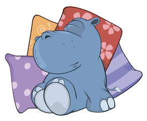 Little hippopotamus. Cartoon