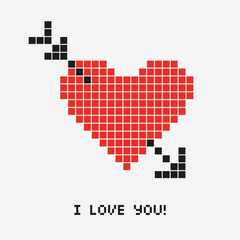 pixel heart, love vector