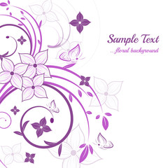 Abstract floral background with leaves and butterflies