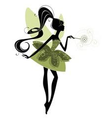 Силуэт феи с волшебной палочкой