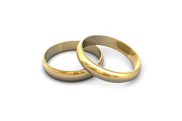 Gold wedding rings.