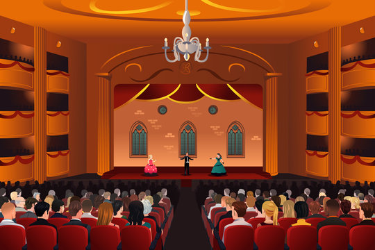 Spectators inside a theater