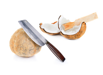 peel coconut with big knife and grated fresh coconut.