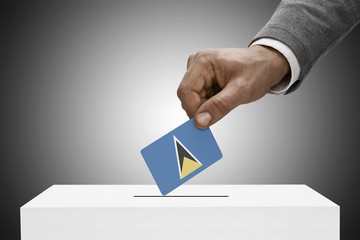 Ballot box painted into national flag colors - Saint Lucia