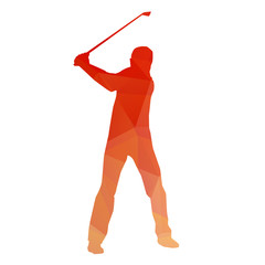 Abstract golfer. Vector drawing of triangles