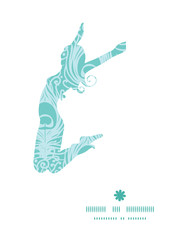 Vector soft peacock feathers jumping girl silhouette pattern