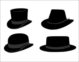 Retro hat set vector