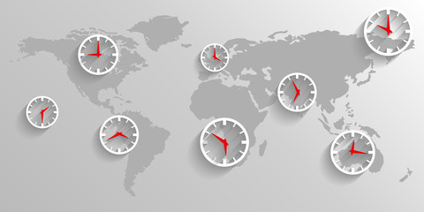 Time zone on the map of the world, business concept background