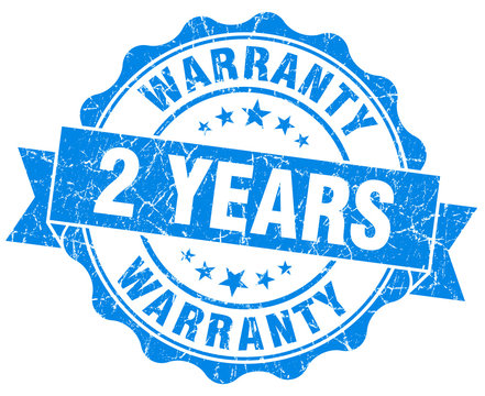 2 years warranty blue vintage isolated seal