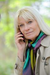 Senior woman  happy phoning