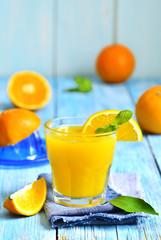Fresh orange juice in a glass.