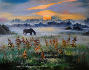 Oil painting of field at sunset, art work