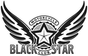 Black star motorcycle club design for emblem or logo