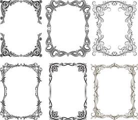 Set of 6 vector frames