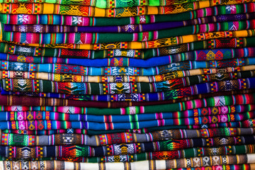 Colorful fabrics for sale in Bolivia