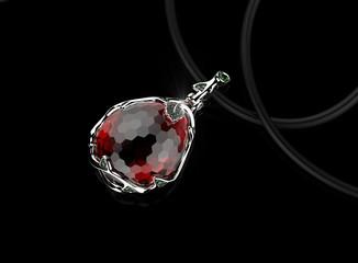 Neklace with ruby. Fashion Jewelry background