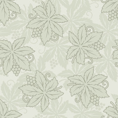 Vector vintage seamless grapes and leaves