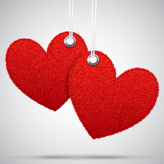 Two hanging decoration hearts