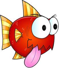 Mean Nasty Fish Vector Illustration Art