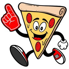 Pizza Running with Foam Finger
