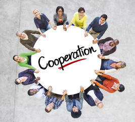 Diverse People Circle Cooperation Meeting Concept