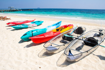 kayaks on the tropical beach