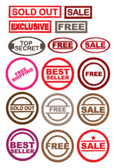 Collection of Rubber Stamp Ink and seals for Retail Business