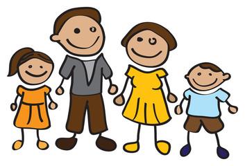 children drawing of cartoon family
