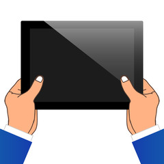 Two Hand Holding A Tablet PC. Vector Illustration