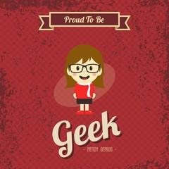 genius geek retro cartoon