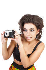 sexy woman with camera isolated on white background