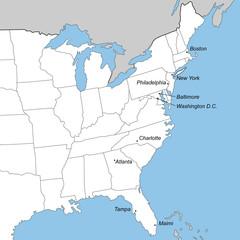 Ostküste der USA in weiß