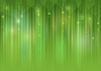 Green  abstract background with leaves