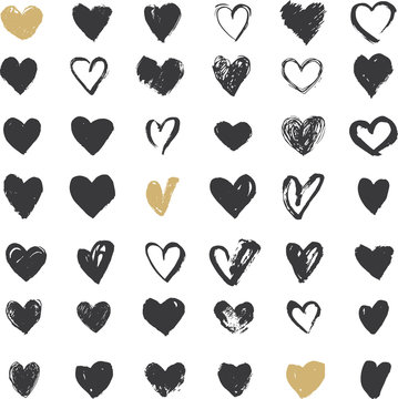 Heart Icons Set, hand drawn ions and illustrations for