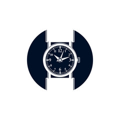 Simple wristwatch graphic illustration, classic hour hand symbol